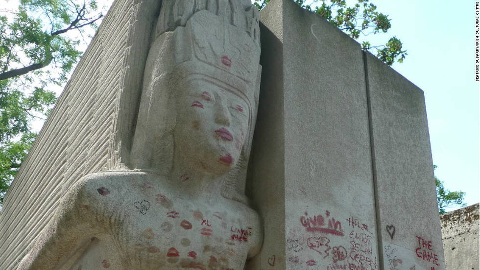 The monument, in the shape of a flying Assyrian-style angel, has been damaged over the years by grafitti -- and by someone who chopped off its genitals in the early 1960s.