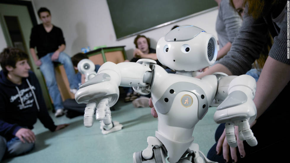 """Nao"" was created by Aldebaran Robotics, in France. Described as a ""versatile, fun and permanently evolving humanoid robot,"" Nao is intended to help autistic children, who Alderban says ""are often attracted to technology because of its predictability."""