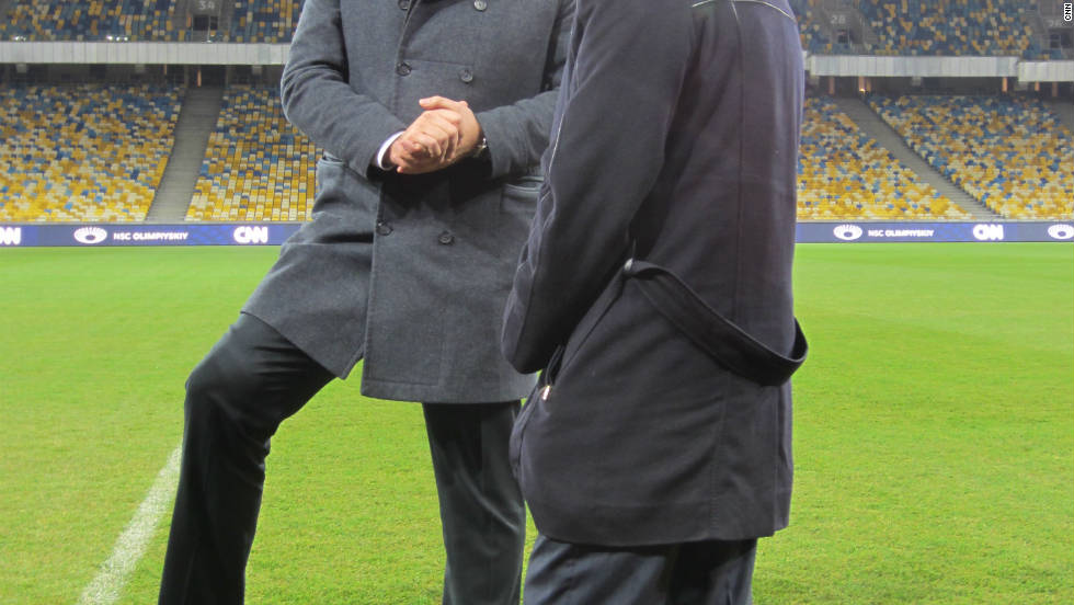 CNN's Pedro Pinto talks to Ukraine's deputy prime minister Boris Kolesnikov in the brand new Lviv Stadium, during his whirlwind day visiting all four stadiums that will host matches in the country.