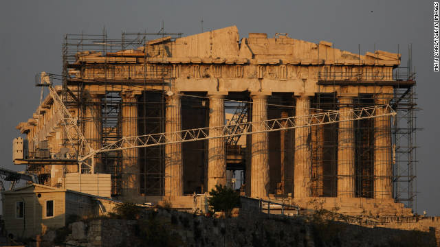 Scaffolding surrounds the Acropolis on June 1, 2011 in Athens, Greece.  The country is at  the center of the eurozone crisis.