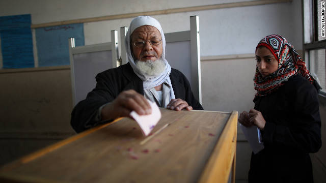 An Egyptian man votes on November 29 in the country's first elections since the fall of longtime President Hosni Mubarak.
