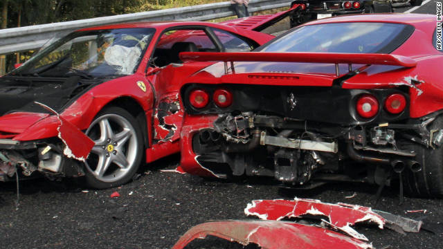 Aftermath of crash involving Ferraris, a Lamborghini and three Mercedes Benz cars in Japan, no one was seriously injured