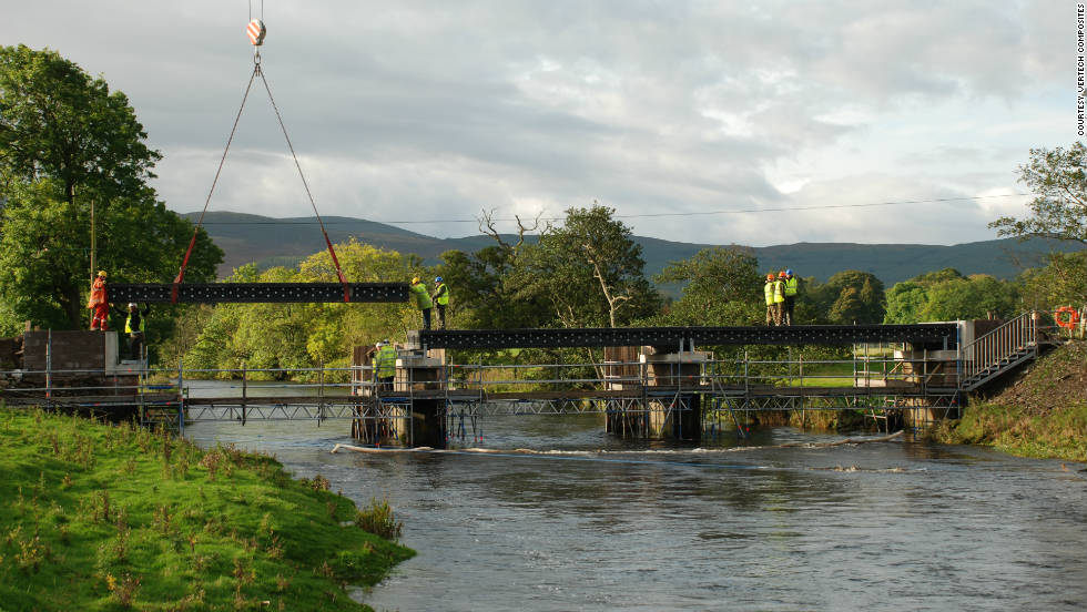 The newly built Dawyck Estate river crossing in Peeblesshire, Scotland, is the world's longest recyclable bridge.