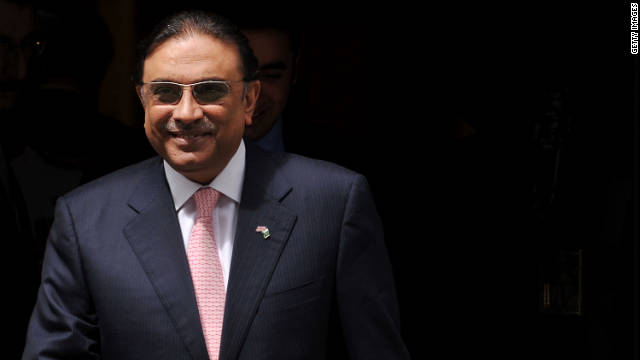 This picture taken on July 1, 2011 shows Pakistani President Asif Ali Zardari leaving 10 Downing Street in central London.