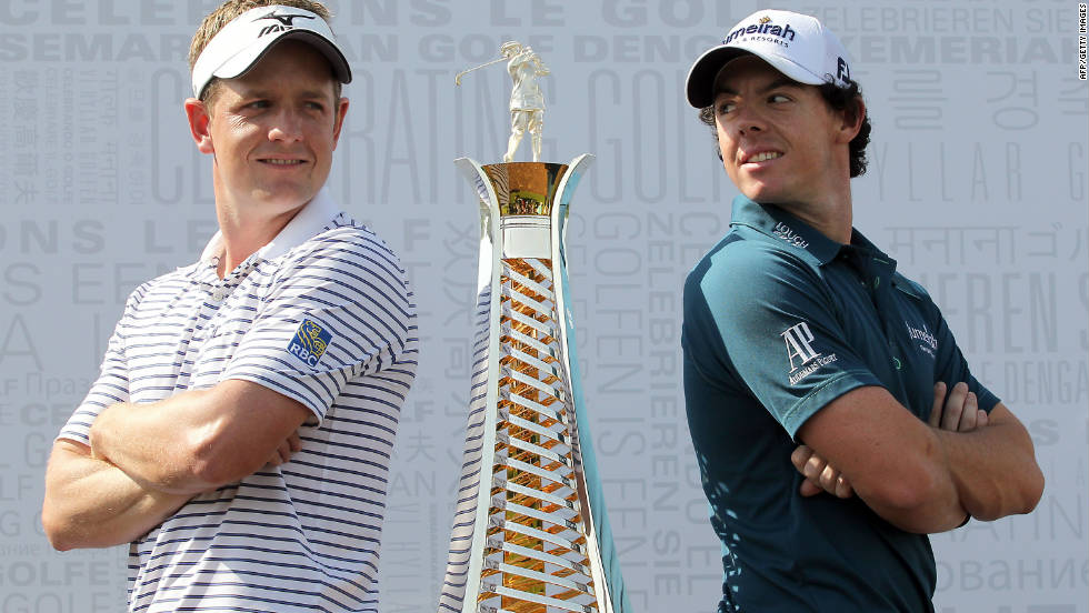 World No. 1 Luke Donald, left, will seek to hold off second-ranked Rory McIlroy in this weekend's battle for the tour's Race to Dubai crown.