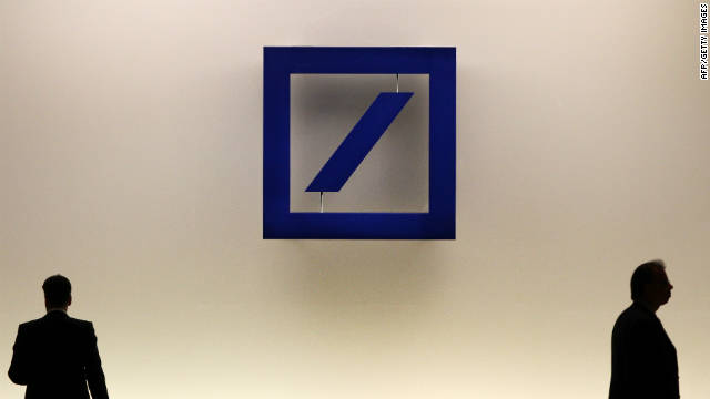 File photo of the logo of German company Deutsche Bank at the bank's annual general meeting in 2011.