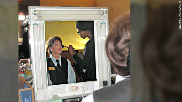 "Barbara Derketsch gets her makeup done to play an usher in ""Parental Guidance,"" due out in November 2012."