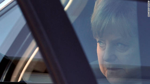 German leader Angela Merkel arrives in France ahead of a crucial meeting later in Brussels billed as make or break for the Euro