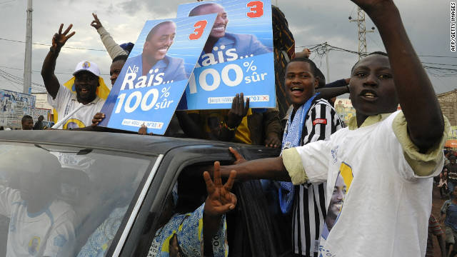 Celebrations from supporters in Goma as Joseph Kabila is re-elected President in Democratic Republic of  the Congo.