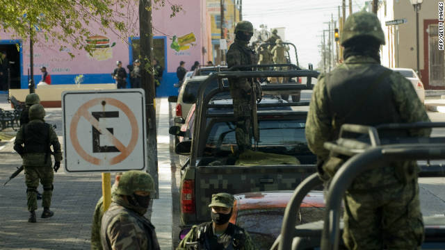 Soldiers in the Mexican Army patrol in Tamaulipas State, Mexico, in December 2011.