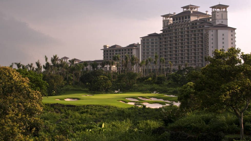 Mission Hills lies in the volcanic region of Hainan Island, China. The resort has 10 courses, with each one incorporating the native lava rock formations. There are also 518 guest rooms and suites, a three-story clubhouse and 12 restaurants in this impressive complex.