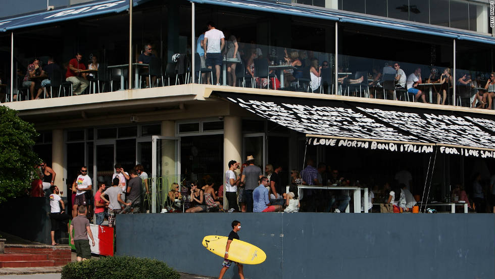 Stylish 'North Bondi Italian' serves up tasty meals, while the RSL club above is perfect for a more relaxed meal.