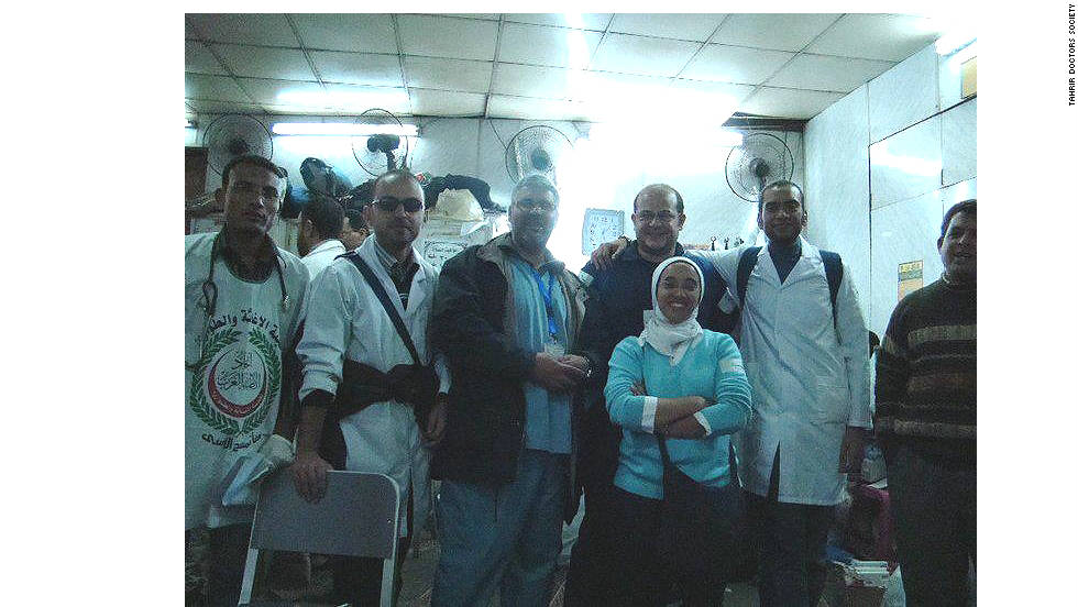 The founders of Tahrir Doctors Society at their first makeshift hospital in January 2011.