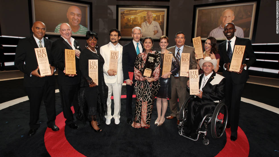 CNN's Anderson Cooper joins honorees Patrice Millet, Bruno Serato, Diane Latiker, Sal Dimiceli, 2011 CNN Hero of the Year Robin Lim, Amy Stokes, Eddie Canales, Richard St. Denis, Taryn Davis and Derreck Kayongo.