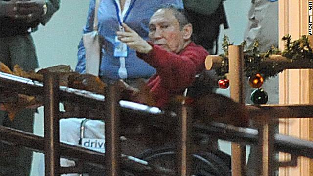 Former Panamanian dictator Manuel Noreiga arrives at the El Renacer prison near Panama City in December.
