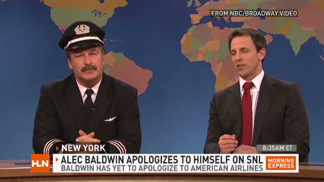 "Alec Baldwin, left, makes fun of the incident on ""Saturday Night Live"" with Seth Meyers."