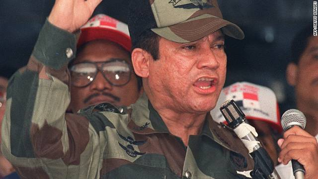 Former Panamanian dictator Manuel Noriega speaks during a military ceremony in 20 May 1988.