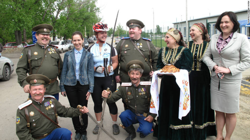 Receiveing a warm Kossack welcome as she crosses the border into Russia on May 16, 2011.