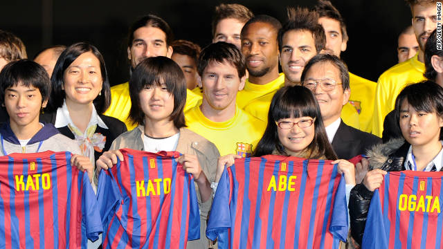 Stars from Spanish and European champions Barcelona meet victims affected by Japan's tsunami in Yokohama.