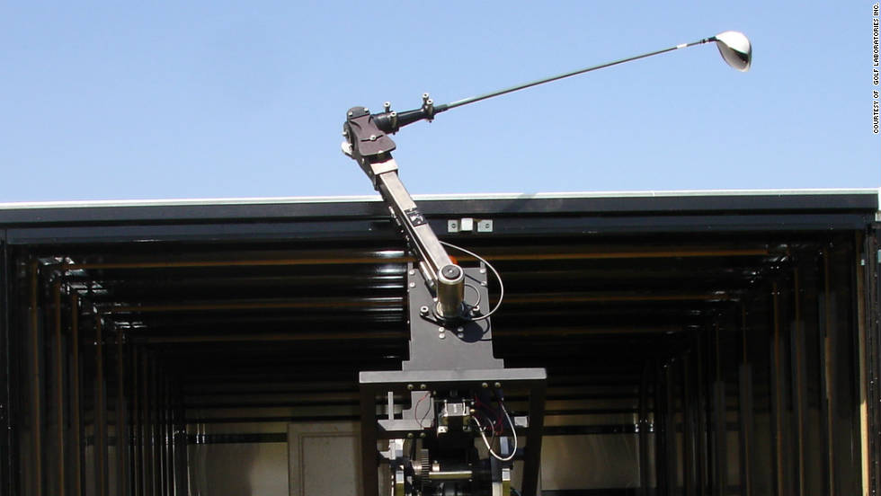 Golf robots used in testing can be programmed to hit drives of over 350 yards with various degrees of spin.