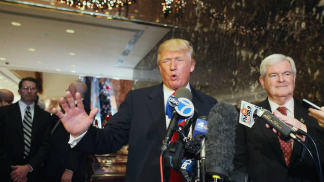 Donald Trump and GOP presidential hopeful Newt Gingrich hold a news conference at Trump Tower in New York on December 5.