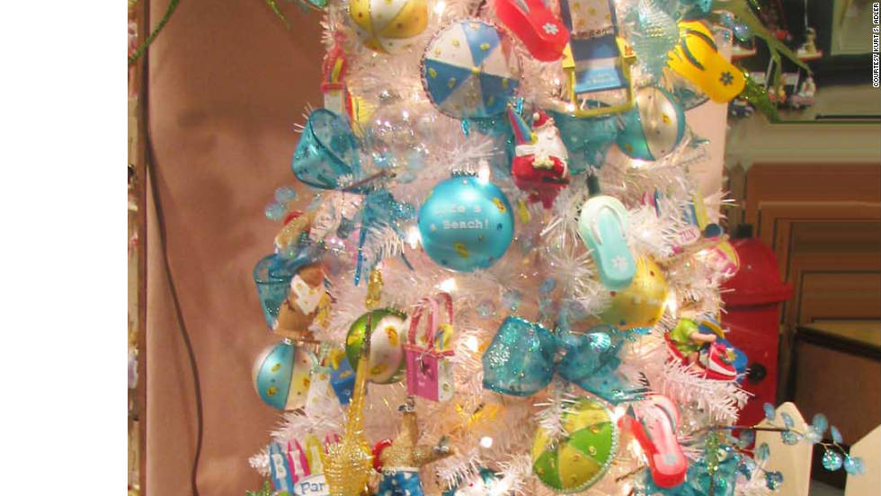 Use a fun base, like this chair, for your artificial tree.