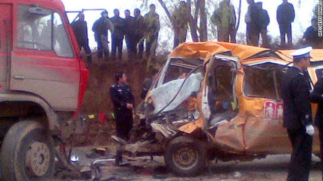 Last month, 19 children were killed when a nine-seat school bus collided with a lorry in Gansu, northwestern China.