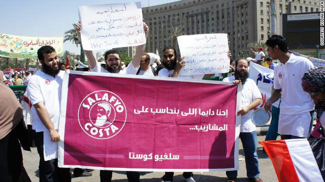 Members of the Salafyo Costa group in Tahrir Square during the first Friday protest in Cairo on July 8.