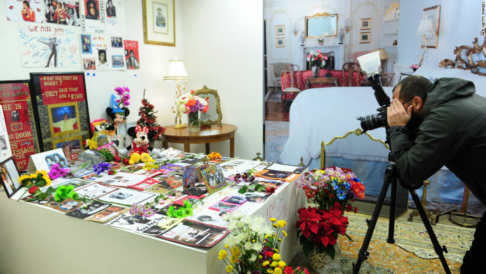 The auction house backed away from selling the bed in which Jackson received the fatal dose of propofol after a personal request from the singer's mother, Katherine Jackson. A bed-sized memorial covered with love notes from Jackson fans has replaced the death bed.