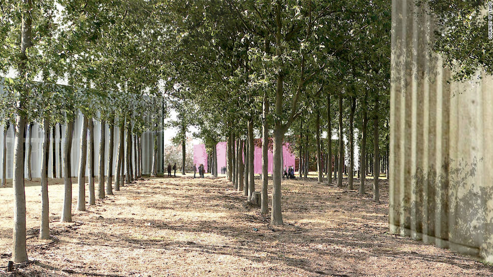 The design of the park also incorporates tree planting and swales which help mitigate local water and air pollution, as this architect's image shows.