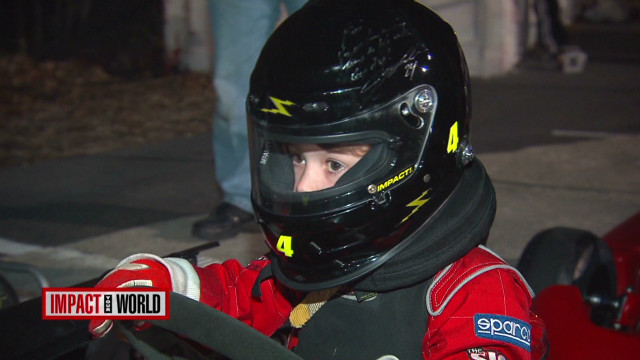 Boy races go-karts to help kids with cancer