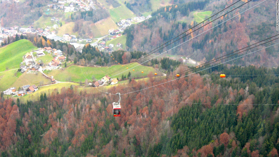 "Susan Crandall snapped this shot while riding a cable car. Further up, she was able to see the ""breathtaking view of the Swiss mountains and the Rheintal Valley overlooking Dornbirn."""