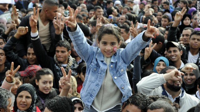 Crowds gather Saturday in Mohamed Bouazizi square, Sidi Bouzid, Tunisia, named after the fman whose self-immolation sparked the Arab Spring.