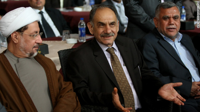 Deputy Prime Minister Saleh al-Mutlaq, center, and other Iraqi ministers at a news conference in July in Baghdad.