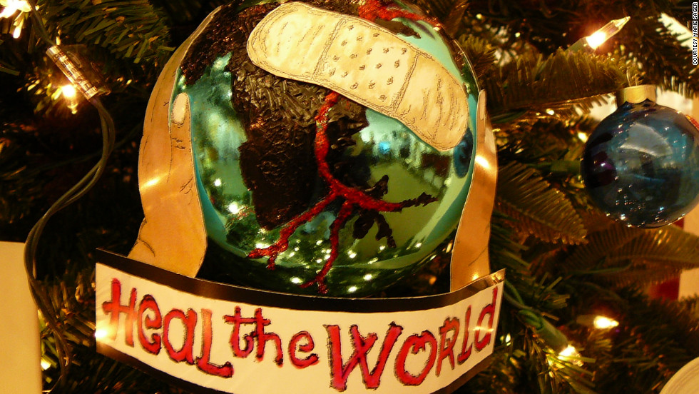 "This Christmas tree ornament, with a reference to Jackson's 1991 song ""Heal the World"", was on display at the Beverly Hills auction."
