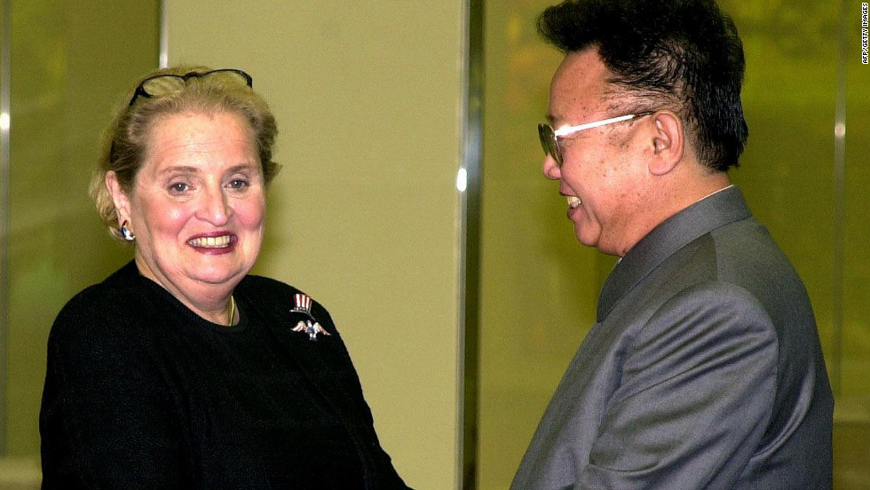 In another first, U.S. Secretary of State Madeline Albright pays a visit to North Korea in October 2000, the first time a U.S. secretary of state has done so.