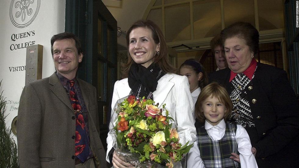 Asma al-Assad visits her former school, Queens College in central London, on December 17, 2002.
