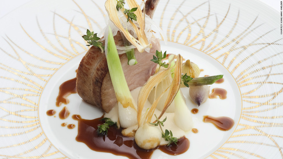 Pork chop with new onions from Kong Hans Kaelder restaurant.