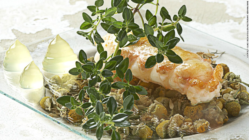 Langoustines from the Danish island of Laesø with chamomile flowers.
