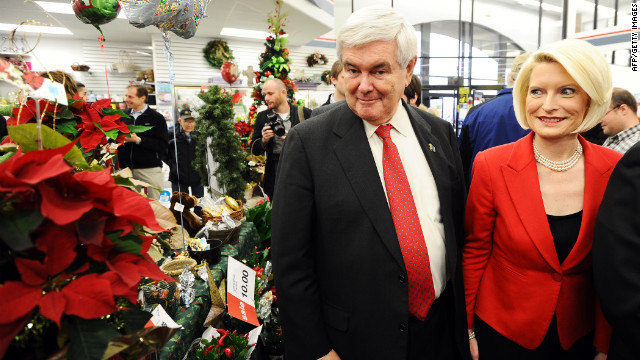 Newt Gingrich and his wife, Callista, at a grocery store for a campaign stop in Mount Pleasant, Iowa, on Tuesday.