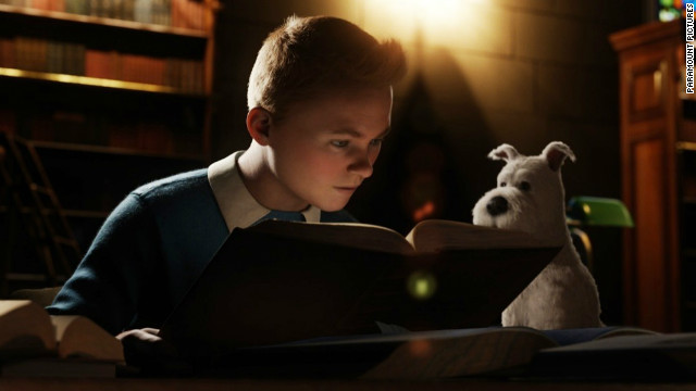 Tintin, voiced by Jamie Bell, has a knack for finding himself in the wrong place at the wrong time.