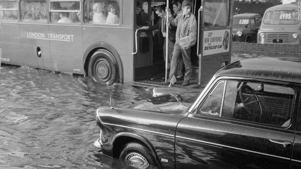 Before London authorities built the Thames barrier, the city was prone to floods in times of high tide, as illustrated in this scene from 1963. But, according to Dr Doug Crawford-Brown, executive director at Cambridge University's Centre for Climate Mitigation Research, England's capital may face a return to its deluged days, if extreme rainfall patterns overwhelm current drainage systems.