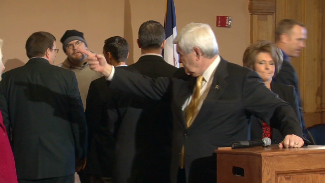 Newt Gingrich heckled in Iowa