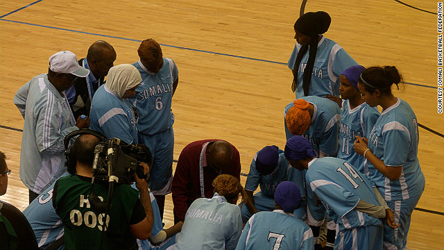 Coach Mohamed Sheekh gives instructions to his players during Somalia's game against Jordan on Monday, December 19.