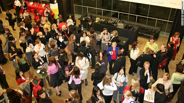 Delegates mingling at a networking event run by Women in Technology