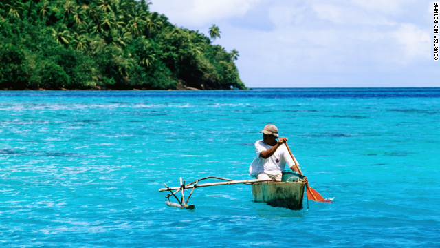 The crystal blue waters of the Society Islands in French Polynesia are inviting for budget-conscious travelers.