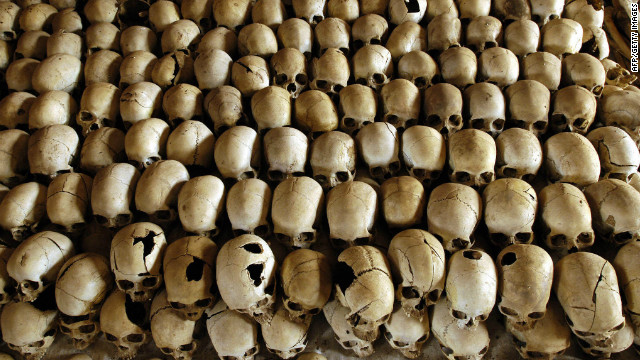 (File) Skulls of victims of the Ntarama massacre during the 1994 Rwanda genocide.