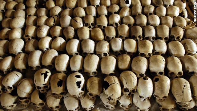 (File) Skulls of victims of the Ntarama massacre during the 1994 Rwanda genocide.