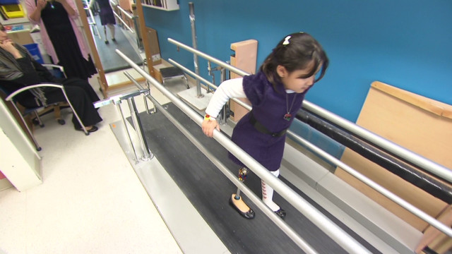 Six-year-old Libyan amputee walks again