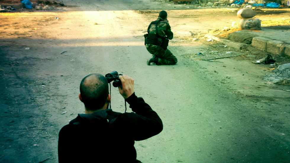 A Free Syrian Army street checkpoint is pictured in the liberated quarter of Baba Amr in Homs.